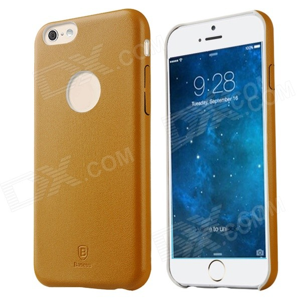 Baseus EHAPIPH6-0Y Protective PU + PC Back Case for IPHONE 6 4.7 - Yellow baseus thin pu leather pc back case for iphone 6 4 7 black