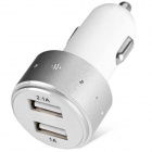 ES-06 Universal 5V 1A/2.1A 2-Port USB Car Charger for IPHONE / Cellphone + More - Silver + White