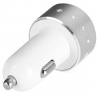 ES-06 Universele 5V 1A / 2.1A 2-Port USB Car Charger voor iPhone / mobiele telefoon + More - Zilver + Wit