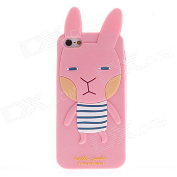 Kinston Lovely Cute 3D Bunny with Ears Designed Silicone Case for IPHONE 5 / 5S - Pink + Black cute cartoon devil style silicone lint back case for iphone 5 5s black