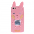 Kinston Lovely Cute 3D Bunny with Ears Designed Silicone Case for IPHONE 5 / 5S - Pink + Black