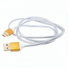 Gold Plated Micro USB Male to USB Male Charging Data Cable - Yellow (1.5m)