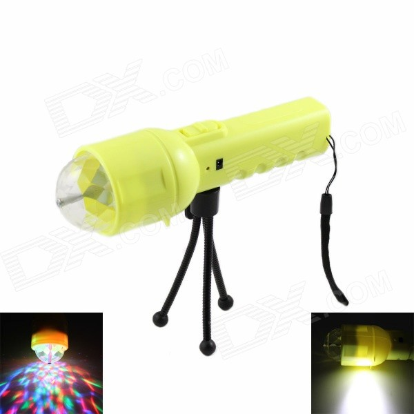 SKLED SK2 Handheld 500lm 2-Mode 2-LED White + RGB Flashlight w/ Tripod / US Plug Charger - Yellow