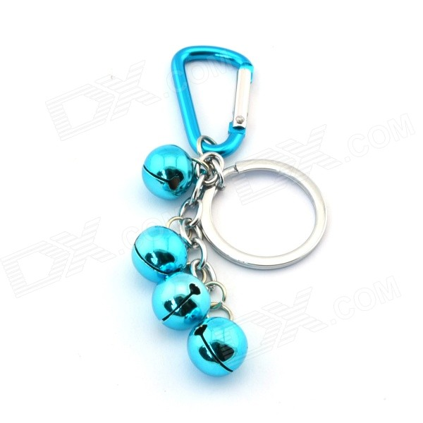 Four Bells Style Key Ring - Bluish Green + Silver - DXKeychains<br>There are 4 bells on the key ring; It could be hanged on the bag to be a decoration<br>