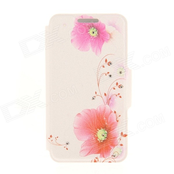 Kinston Flower Pattern Rhinestone Studded PU + Plastic Case w/ Stand + Card Slot for IPHONE 6 kinston music girl pattern pu plastic flip open case w stand card slot for iphone 6 plus