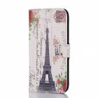DF-005 Eiffel Tower Pattern Protective PU Case w/ Card Slot / Stand for HTC One / M8 - Multicolored