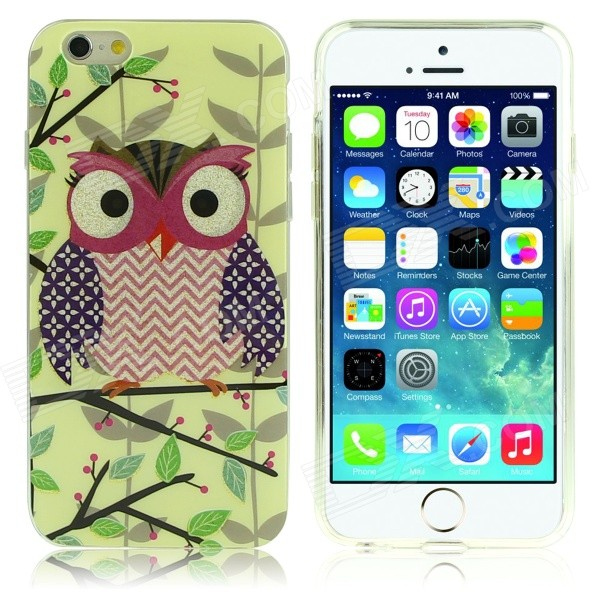Owl Pattern Protective TPU Back Case for IPHONE 6 - Green + Multicolored tpu material protective back case cover owl pattern for iphone 5c