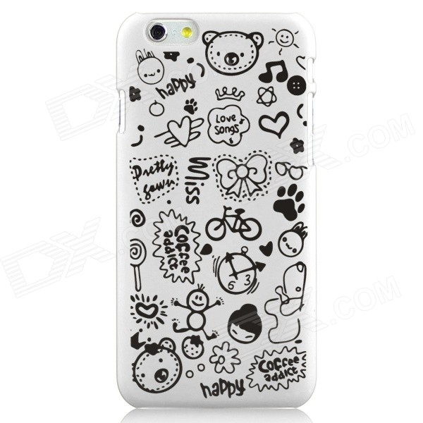 Hat-Prince Cartoon Print Protective Matte Non-slip Case Back Cover for IPHONE 6 PLUS - White + Black