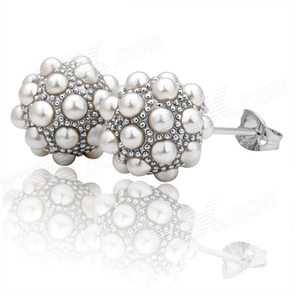 LKN18KRGPE013 Ball Shaped Pearl Earrings for Women - Silver + White