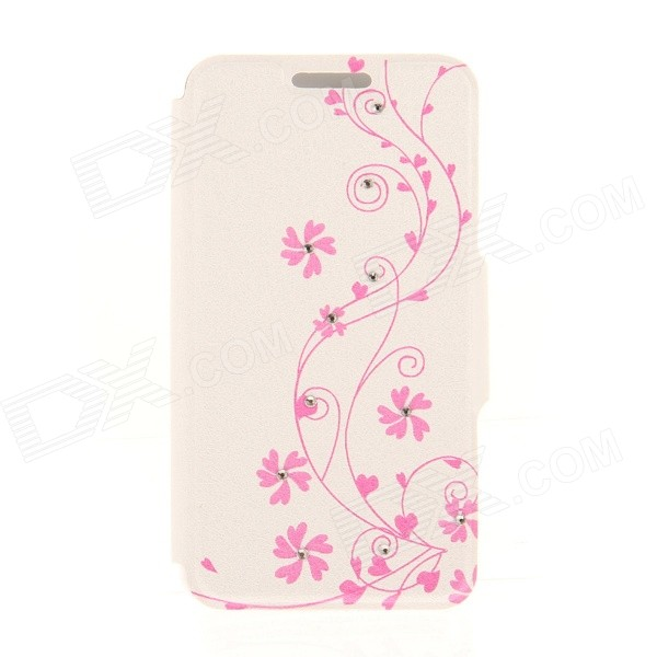 Kinston Vine Flower Pattern Rhinestone Studded PU + Plastic Case w/ Stand + Card Slot for IPHONE 6 kinston kst92535 silk pattern pu plastic case w stand for iphone 6 plus white