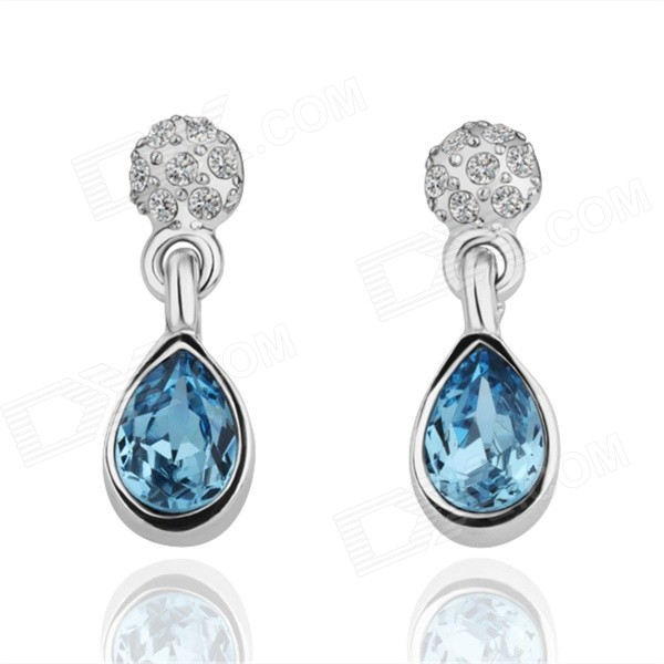 Women's Stylish Zinc Alloy + Artificial Crystal Earrings - Silver + Blue (Pair)