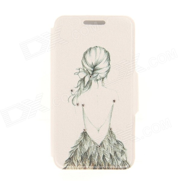 Kinston Girl's Back Pattern Rhinestone Studded PU + Plastic Case w/ Stand + Card Slot for IPHONE 6 kinston kst92535 silk pattern pu plastic case w stand for iphone 6 plus white
