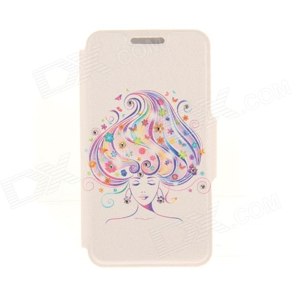 Kinston Long Hair Pattern Rhinestone Studded PU + Plastic Case w/ Stand + Card Slot for IPHONE 6 kinston kst92535 silk pattern pu plastic case w stand for iphone 6 plus white