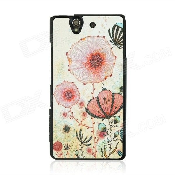 Dermatoglyph Texture Flower Pattern PC Case for Sony Xperia Z / L36H - White + Red цена