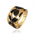 Women's Butterfly Patterned Rhinestone-studded Gold-plated Finger Ring - Golden + Black (US Size 8)