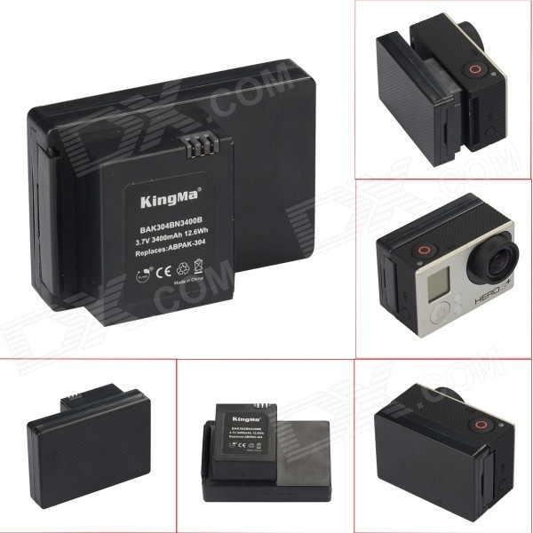 Kingma GoPro 3400mAh Battery for GoPro Hero 3/3+ & ABPAK-304 - Black
