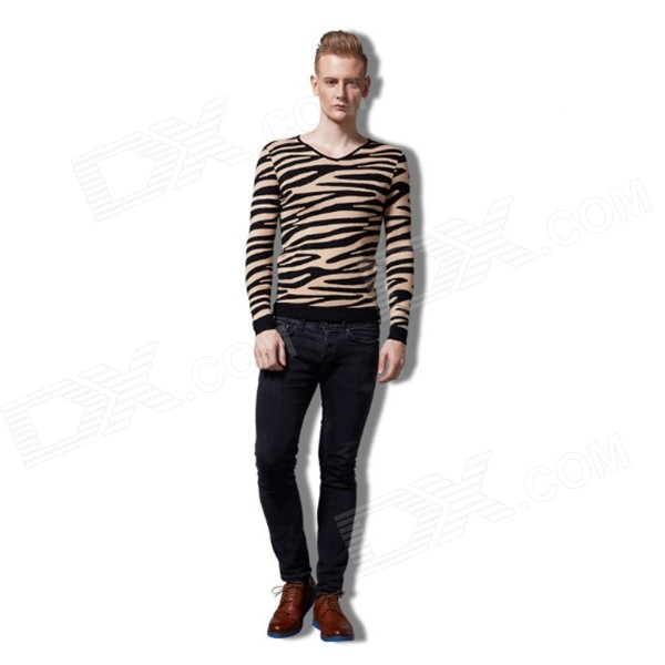 Fashion Leopard Men Sweater - Yellow + Black (Size M)