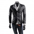 British Fashionable Men's Washed Leather Slim Motorcycle Jacket - Black (Size L)