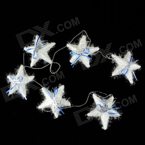 SMKJ E1HQ Bubble Pentagram Pendant Long String Decoration for Christmas Tree - White + Blue