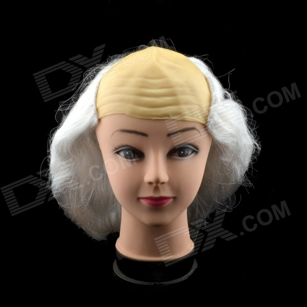 Halloween Bald Style Short Wig - White + Yellow halloween natural rubber bald ghost mask red white