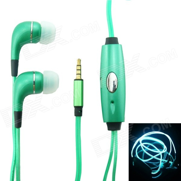 BL-12 Remote Luminous Earphone w/ Visible EL Cold Light Twinkle w/ Music Rhythm - Green
