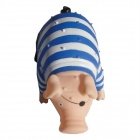 Screaming Pirate Pig Sound Toys Shock Decompression Release Stress Toy - White + Blue