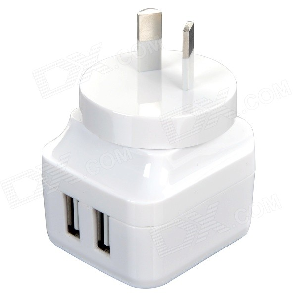 ihave id0103 2-USB Port US Plug Power Adapter w/ AU Plug - White (AC 100~240V) 3 port usb ac uk plug power adapter for mobile phone tablet pc white 100 240v