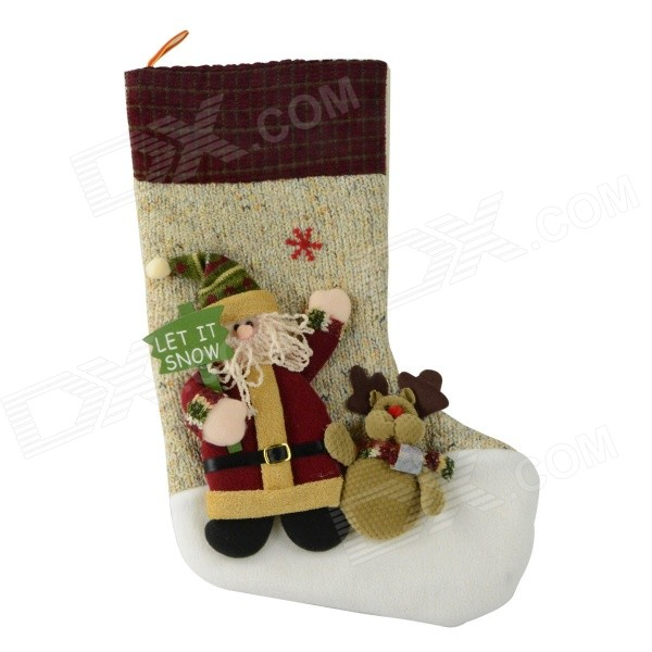 Large Santa Claus Sock Christmas Gift Creative Storage Bag - Beige + Brown yoni egg massager crystal roller wand ben wa balls tiger eye pleasure jade egg for women kegel exercise vaginal muscles tighten