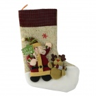 Large Santa Claus Sock Christmas Gift Creative Storage Bag - Beige + Brown