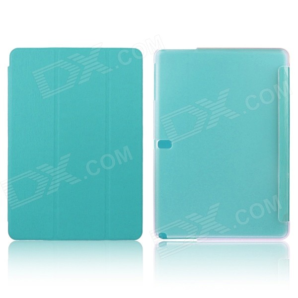ENKAY Three Folds Protective PU Leather Case for Samsung Galaxy Tab Pro 10.1 T520 - Light Blue