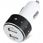 ES-06 Universal 5V 1A/2.1A 2-Port USB Car Charger for IPHONE / Cellphone + More - Black + White
