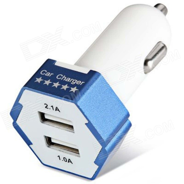 ES-04 Compact Universal 5V 1A/2.1A Dual USB Output Car Charger for IPHONE / Cellphone - Blue