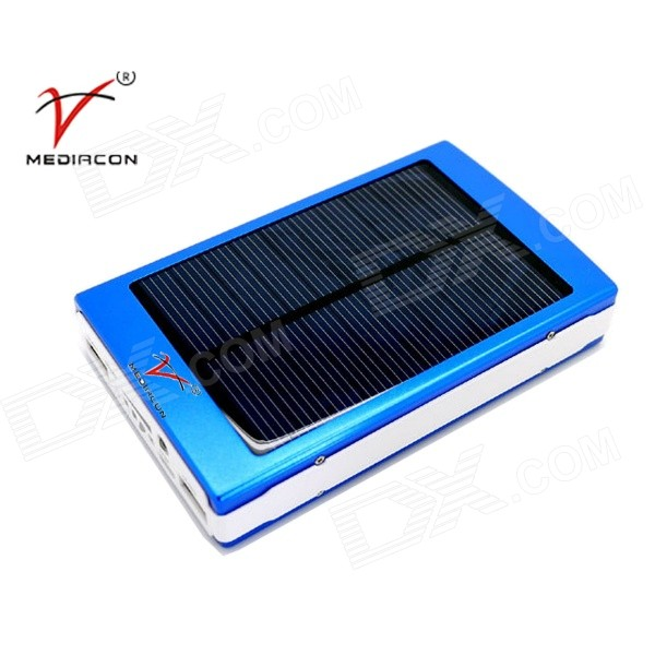 SP50000 Solar Powered Dual USB 35,000mAh Li-polymer Power Bank w/ LED Indicator / Flashlight - Blue original romoss polymos 10 air 10000mah dual usb li polymer power bank