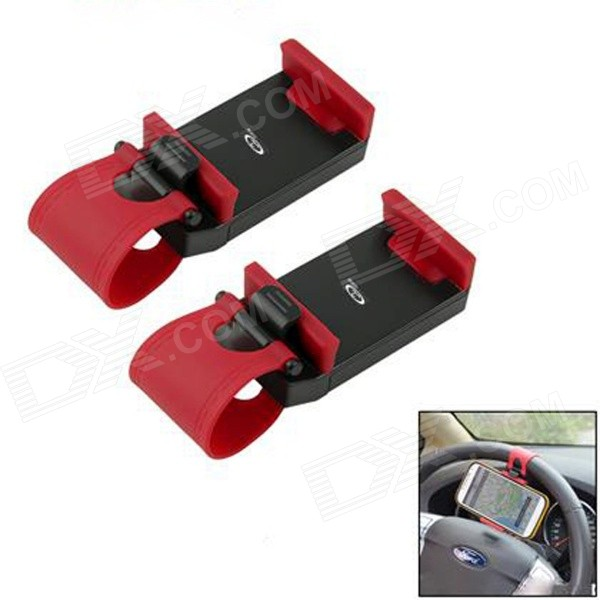 OUMILY Adjustable Car Steering Wheel Mounted Phone Holder Bracket - Black + Red 2 PCS)