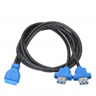 CHEERLINK Female to Female 19-Pin USB 3.0 to USB 3.0 (Dual Port) Cable for Desktop PC - Black + Blue
