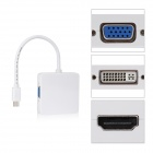 CY DP-043 Square Mini DP Thunderbolt to DVI + VGA + HDMI HDTV Adapter for MACBOOK - White