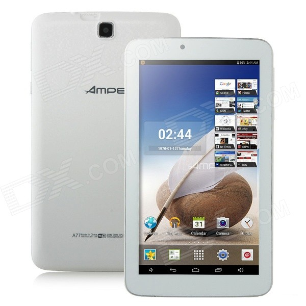 AMPE A77 7 Android 4.4 A33 Quad Core Tablet PC w / 8GB ROM, Wi-Fi, Dual Camera - White
