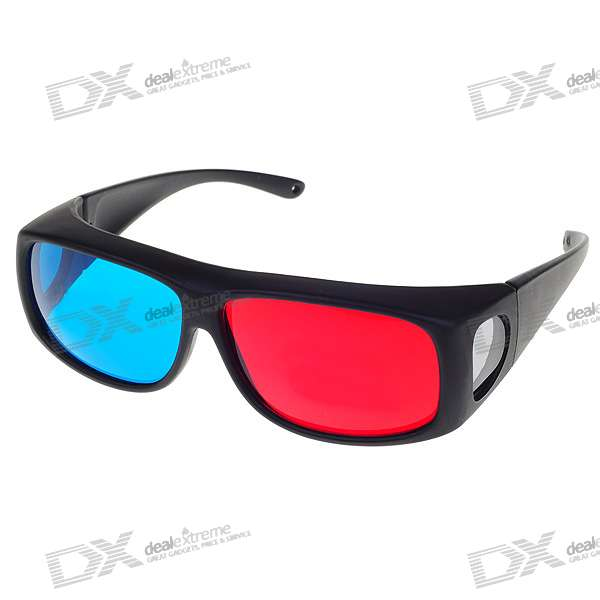 Professional Resin Lens Anaglyphic Red + Cyan 3D Glasses with Protective Case