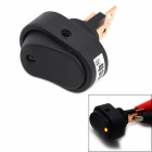 MaiTech 12V 20A Car Rocker Switch with Yellow LED Light - Black