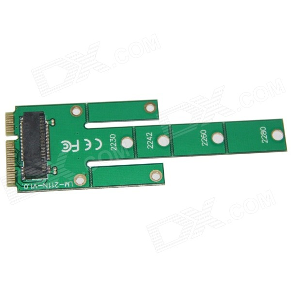 WBTUO LM-211N-V1.0 MSATA to M.2 NGFF SSD Adapter Card - Green wbtuo lm 211n v1 0 msata to m 2 ngff ssd adapter card green