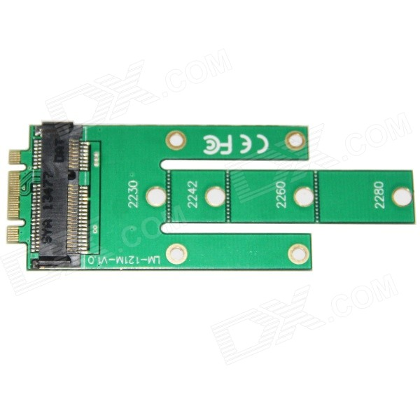 WBTUO LM-121M-V1.0 M.2 NGFF to MSATA SSD Adapter Card - Green ssd add on cards 2 5 enclosure adapter u 2 sff 8639 to m 2 pci e i f with cable ngff convert card