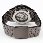 Men's Auto-Mechanical Steel Band Analog Wrist Skeleton Watch - Black