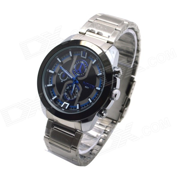 MIKE 8831 Men's Business Casual Quartz Watch - Silver + Blue mike davis knight s microsoft business intelligence 24 hour trainer