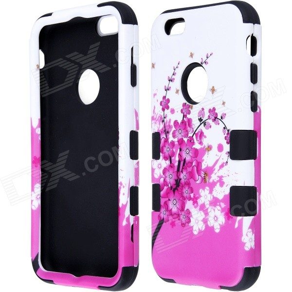 Hybrid 3-in-1 Peach Blossom Pattern Protective PC + Silicone Case for IPHONE 6 4.7 - Pink + Black rhinestone lattice pc silicone hybrid cover case for iphone 7 plus black purple