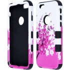 "Hybrid 3-in-1 Peach Blossom Pattern Protective PC + Silicone Case for IPHONE 6 4.7"" - Pink + Black"