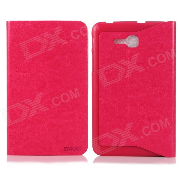 ENKAY Simple Protective PU Leather Case w/ Stand for Samsung Galaxy Tab 3 Lite T110 - Deep Pink