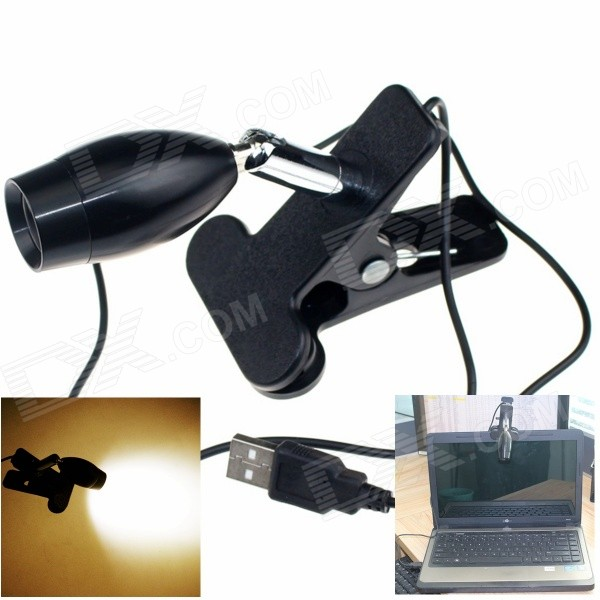 USB Powered 1W 80lm LED Warm White Clip-On Reading Lamp - BlackLED Nightlights<br>BrandHAPPYMaterialAluminum alloyForm  ColorBlackQuantity1 DX.PCM.Model.AttributeModel.UnitPower1WRated VoltageOthers,5 DX.PCM.Model.AttributeModel.UnitConnector TypeOthers,USBColor BINWarm WhiteChip BrandEpistarChip TypeHigh-powerEmitter TypeLEDTotal Emitters1Theoretical Lumens90 DX.PCM.Model.AttributeModel.UnitActual Lumens80 DX.PCM.Model.AttributeModel.UnitColor Temperature3000KDimmableNoBeam Angle80 DX.PCM.Model.AttributeModel.UnitInstallation TypeInsertedOther FeaturesUSB cable length: 1mPacking List1 x Lamp<br>
