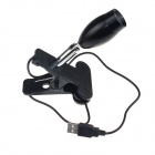 USB Powered 1W 80lm LED Warm White Clip-On Reading Lamp - Black