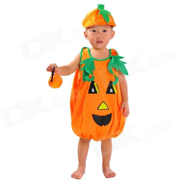 Halloween Cute Pumkin Style Costume + Hat Set for Children - Orange + Green halloween cute pumkin style costume hat set for children orange green