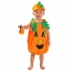 Halloween Cute Pumkin Style Costume + Hat Set for Children - Orange + Green